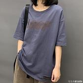 新款純棉韓版t恤女黑色打底衫寬鬆半袖磨破短袖圓領大碼內搭上衣