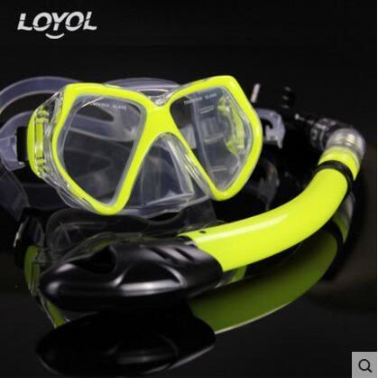 成人潛水鏡 浮潛三寶全乾式呼吸管套裝【熒光黃M1526+S14套裝】