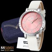 【Levis】Levi's 女錶 石英錶 真皮錶帶 羅馬數字錶面設計 經典盒裝/白皮帶粉錶面/38.5mm