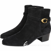 COACH CHRYSTIE C Logo 黃銅釦黑色麂皮粗跟短靴 1920307-01