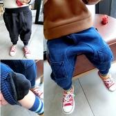 YAHOO618◮寶寶加絨小腳柔軟針織牛仔褲男童中小童冬款韓版補丁哈倫褲1-6歲3 韓趣優品☌