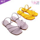 涼鞋.MIT韓系細帶方頭平底涼鞋.黃/紫...