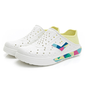 PONY ENJOY 中性款白黃彩色LOGO洞洞鞋-NO.02U1SA02YW