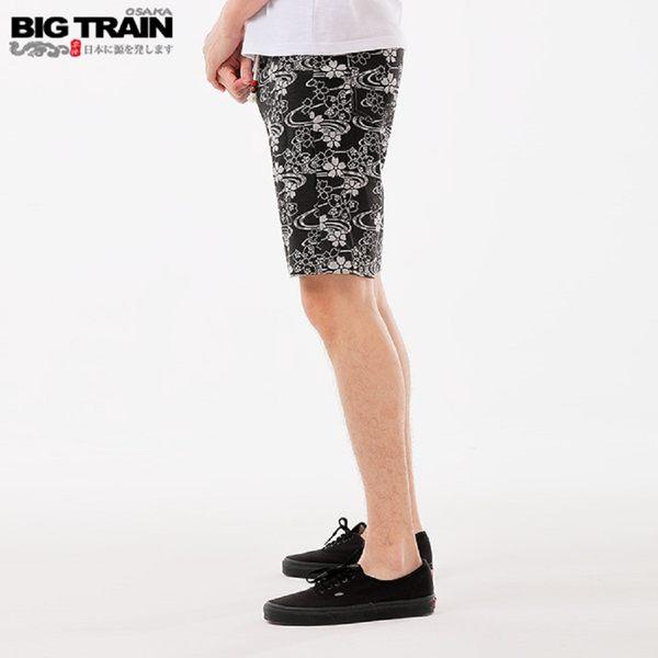 BigTrain滿版流水櫻印花針織短褲-男-黑色-S-3L