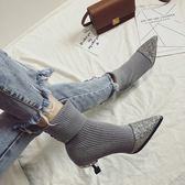 襪靴 2019新款中跟短靴尖頭細跟女靴