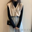 V領毛衣女寬松慵懶風秋季外搭馬甲小背心兩件外套針織衫秋款韓版