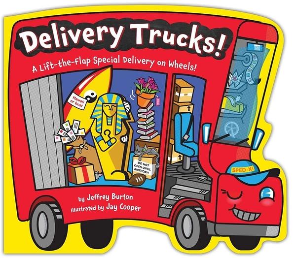 【麥克書店】DELIVERY TRUCKS A LIFT-THE-FLAP SPECIAL DELIVERY ON WHEELS/硬頁書《世界文化/快遞車》