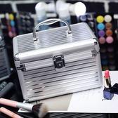萬聖節快速出貨-妝箱手提雙層大容量小號便攜收納箱盒專業帶鎖硬的化妝包