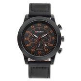 手錶男 運動手錶三眼裝飾石英錶夜光男士腕錶日歷皮帶《印象精品》p105