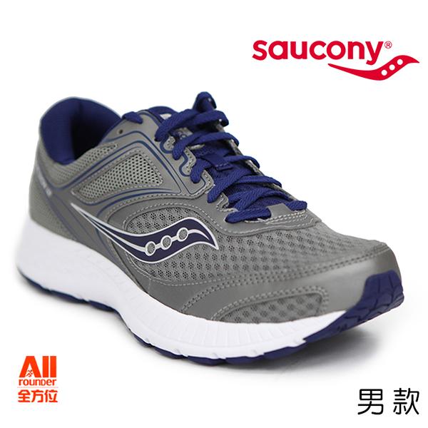 【Saucony】男款慢跑鞋GRID COHESION 12戶外越野 -灰/藍色(204721)全方位跑步概念館