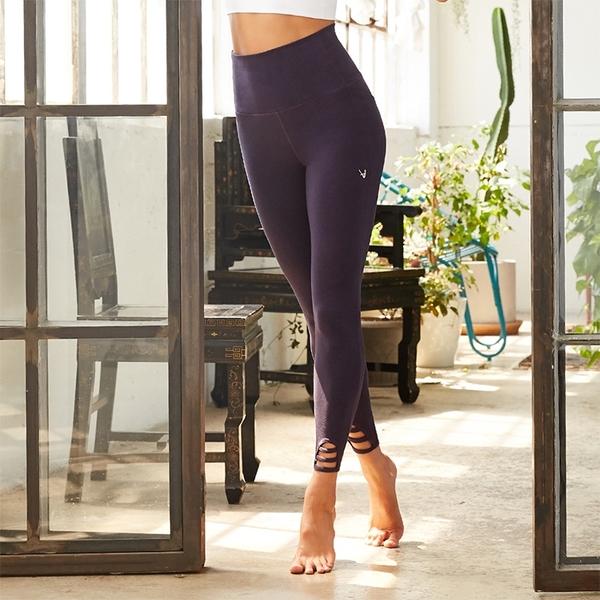 【MACACA】寧靜心念高腰九分褲-APE7222(紫麻花)(瑜伽/伸展/有氧舞蹈/輕度/運動)
