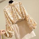 韓版百搭氣質雪紡衫寬鬆立領小碎花燈籠袖上衣洋氣襯衫女式春夏 果果輕時尚