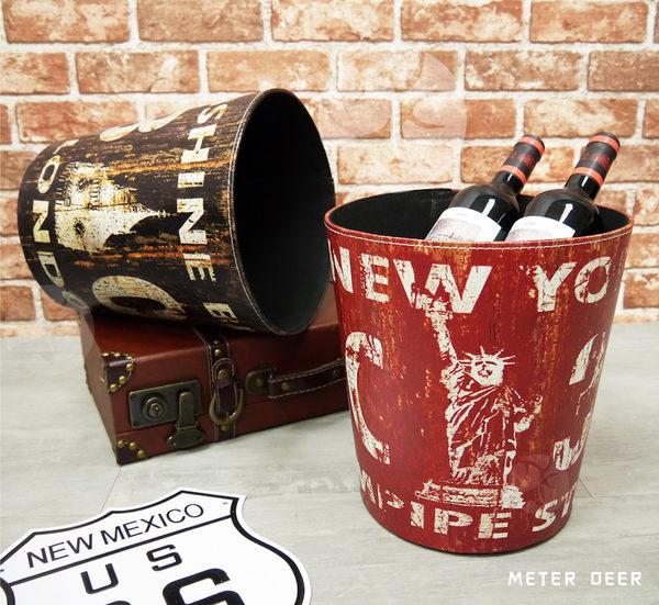 復古流行防潑水皮革製垃圾桶收納桶廢紙簍 美式自由女神英國倫敦風格 空間裝飾置物籃-米鹿家居