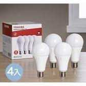 Toshiba 11W LED廣角球泡型燈泡4入-黃光
