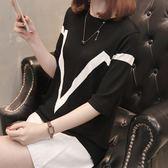 雙12購物節   冰絲針織衫女短袖t恤五分袖圓領純色打底衫夏季新款薄款韓版上衣   mandyc衣間
