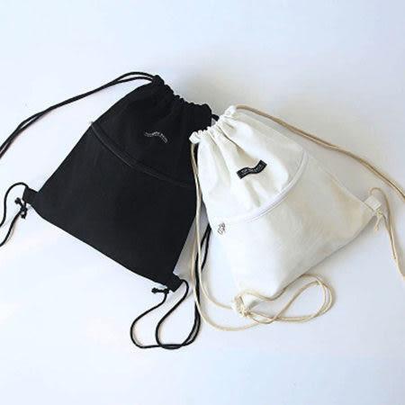 ※現貨 素色拉鏈抽繩束口帆布後背包 3色【F929156】