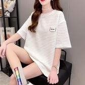 白色短袖t恤女ins潮網紅夏季2021新款韓版寬鬆中長款大碼半袖上衣【快速出貨】