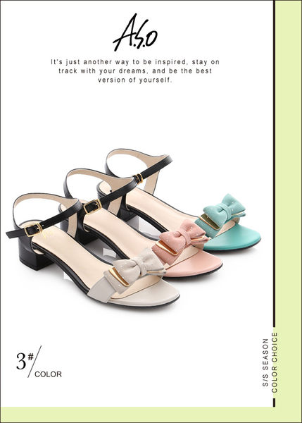 A.S.O 南法香頌 金屬異材質混搭蝴蝶結粗低跟涼鞋  白