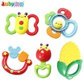 (一件免運)手搖鈴嬰兒芽膠手搖鈴寶寶3-6-12個月幼兒益智奧貝玩具新生兒0-1歲