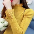 長袖針織衫~韓版女裝甜美蕾絲拼接半高領加厚毛衣修身顯瘦打底針織衫A441.T19C日韓屋