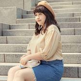 Poly Lulu 復古刺繡縮腰花苞袖上衣-米白【91080408】