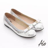 A.S.O 奢華美型 真皮金屬圖騰蝴蝶結平底鞋  銀色