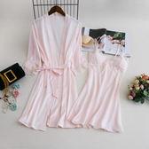 18春季絲質睡衣女夏冰絲性感吊帶睡裙睡袍兩件套可外穿純色家居服【小梨雜貨鋪】