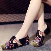 春季新款老北京鬆緊帶繡花鞋廣場舞透氣女布鞋民族風低跟女鞋