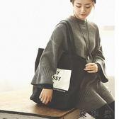 韓版帆布包文藝側背手提袋