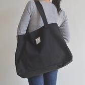 大容量購物袋休閒文藝單肩包女大包行李手提袋簡約百搭帆布包   中秋節全館免運