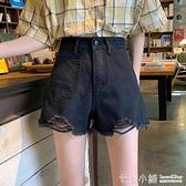 牛仔短褲~ 夏季2021年新款女裝高腰破洞牛仔褲短褲黑色直筒褲子寬鬆顯瘦熱褲