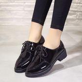 牛津鞋/紳士鞋 正韓學院圓頭繫帶粗跟單鞋牛津復古平底布洛克女鞋