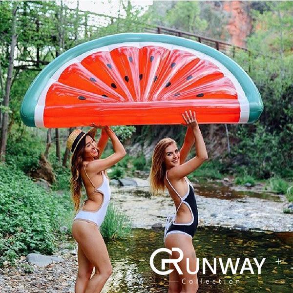 【送修補貼 拉繩】夏日 最熱門 185CM 巨大 西瓜 水果 造型 充氣 漂浮床 游泳圈 充氣泳圈