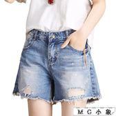 牛仔短褲 韓版百搭高腰寬鬆闊腿熱褲