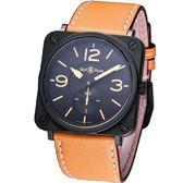Bell & Ross 經典時尚飛行腕錶-(BRS-HERI-SWA)咖啡色皮
