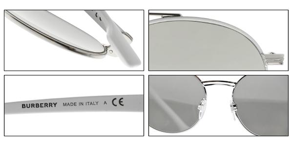 BURBERRY太陽眼鏡 BU3109 12946G (白槍-白水銀灰鏡片) 潮流雙槓飛官款 # 金橘眼鏡