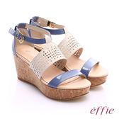effie 摩登美型 羊皮拼接配色飾扣楔型涼鞋  紫