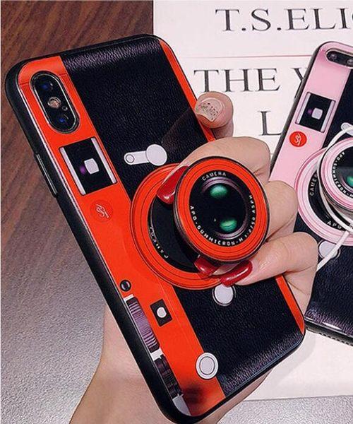 iPhone X 網紅照相機 手機殼 創意 3D相機氣囊支架 保護套 全包 防摔 軟殼