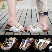 情侶軟木拖鞋男夏季韓版潮流防滑沙灘鞋時尚夾腳涼鞋休閒人字拖女