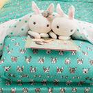 Tiffany dog Q4加大床包雙人兩用被4件組 四季磨毛布 北歐風 台灣製造 棉床本舖