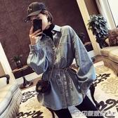 韓版牛仔外套女春秋時尚顯瘦收腰襯衣服中長款學生百搭寬鬆小外衣 印象家品