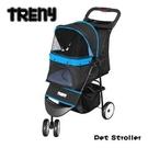 【Treny】TRENY 快速收合 高級寵物推車-藍 附杯架跟置物籃 寵物車 狗推車 貓推車 YB501-B