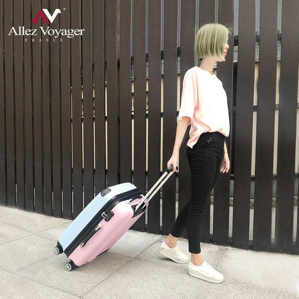 行李箱 旅行箱 24吋ABS霧面防刮飛機輪加大容量 法國奧莉薇閣 箱見歡 漾彩系列-藍粉色