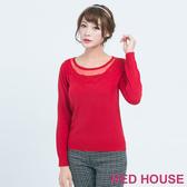 Red House 蕾赫斯-透膚繡花針織上衣(共2色)