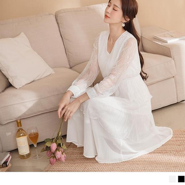 《DA8071-》輕婚紗.唯美層次蕾絲拼接腰鬆緊微透膚拋袖長洋裝 OB嚴選
