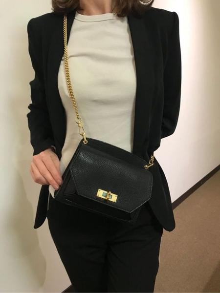 ■專櫃53折■Bally 全新真品 Suzy 小款粒面山羊皮金鍊包 黑色