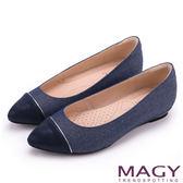 MAGY 清新氣質款 親膚舒適拼色尖頭平底鞋-牛仔藍