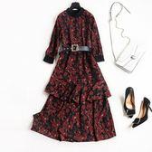 連身裙-雪紡七分袖繁複唯美印花優雅女洋裝2色73qz78【巴黎精品】