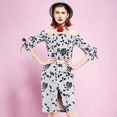 露肩一字領上衣+短裙(兩件套)-時尚優雅玫瑰印花女裙裝73lk30[巴黎精品]