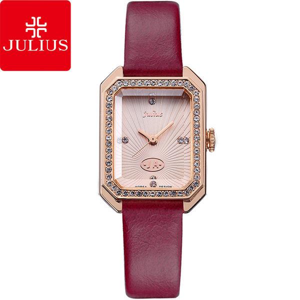 JULIUS 聚利時 凡爾賽午茶復古水鑽皮帶腕錶-玫紅色/22×30mm 【JA-824D】